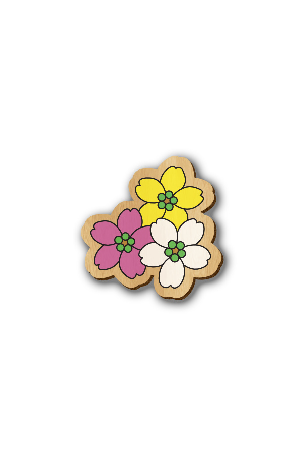 3 Flowers - Hand-painted Wooden Pin