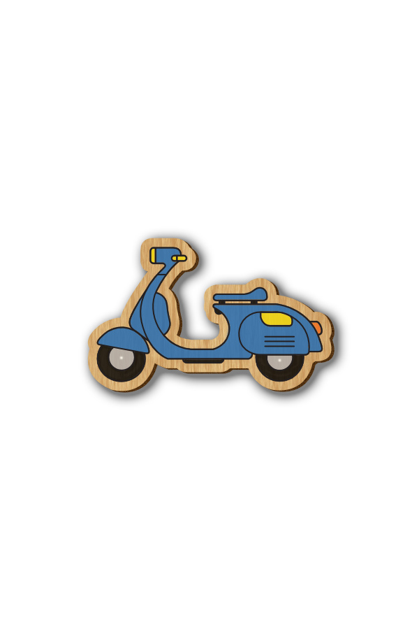 Scooter - Hand-painted Wooden Pin`Scooter - Hand-painted Wooden Pin
