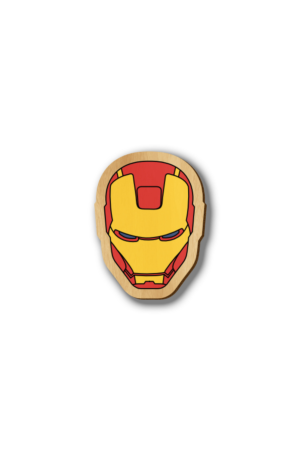 Iron Man Mask - Wooden Hand-painted pin