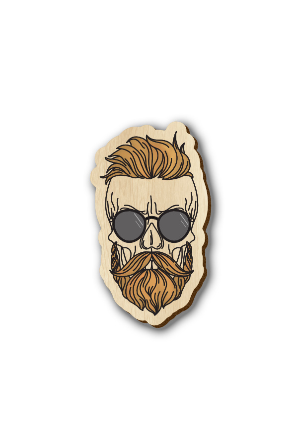 Bearded Skull with Sunglass - Hand-painted Wooden Pin
