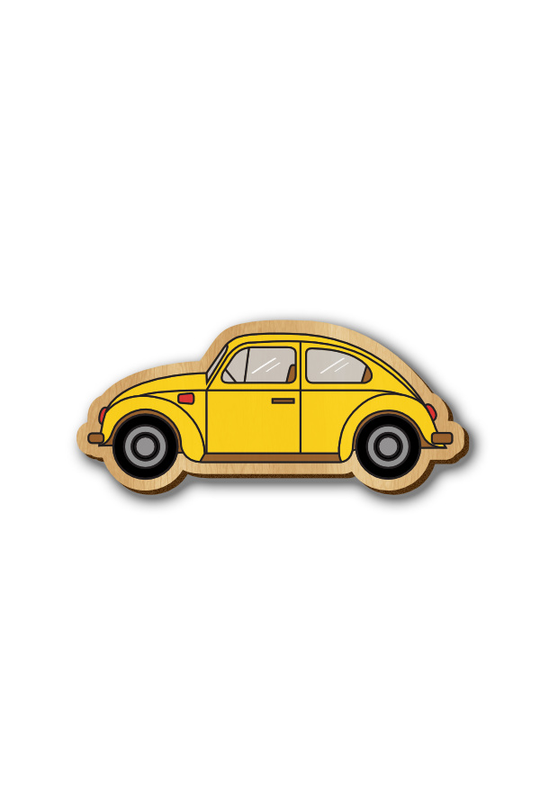 Yellow Beetle Car - Hand-painted Wooden Pin