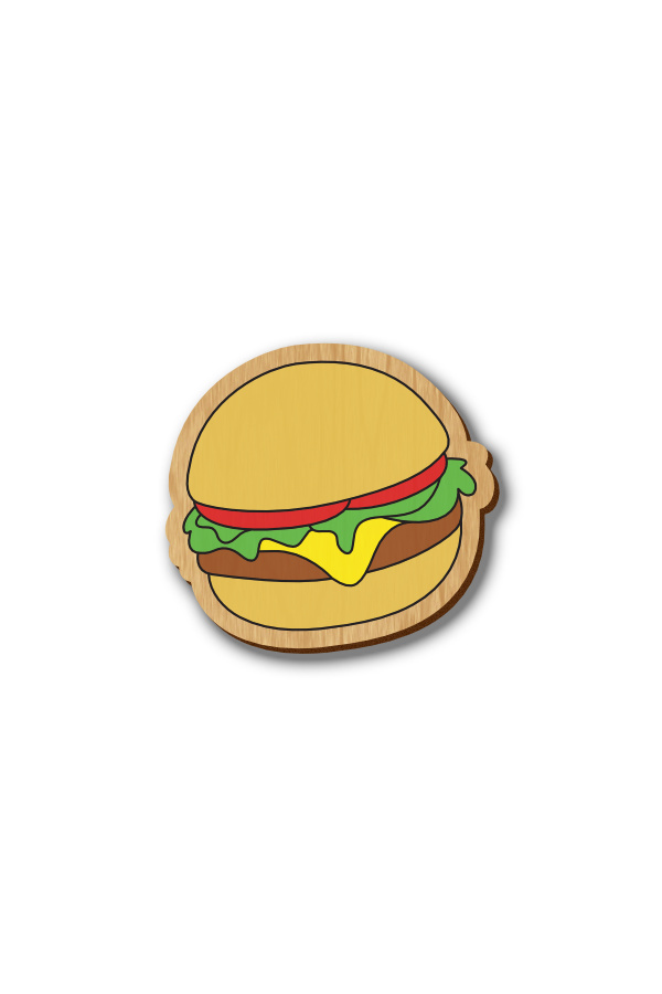 Yummy Burger - Hand-painted Wooden Pin