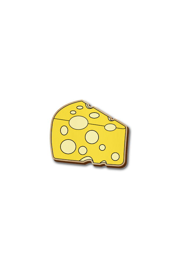 Cheese Cube - Hand-painted Wooden Pin