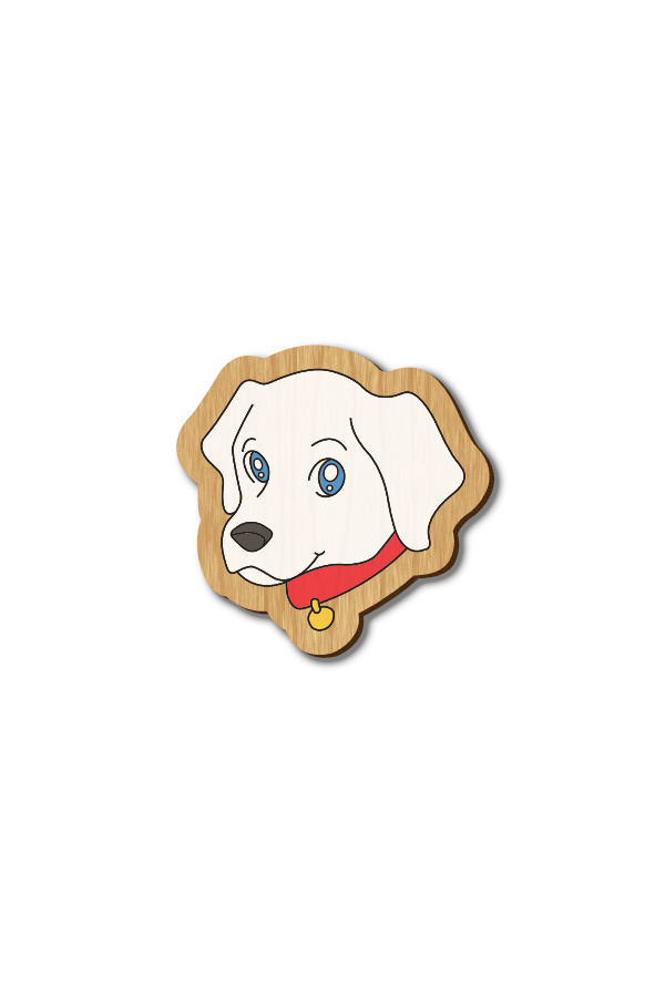 Cute Dog - Hand-painted Wooden Pin