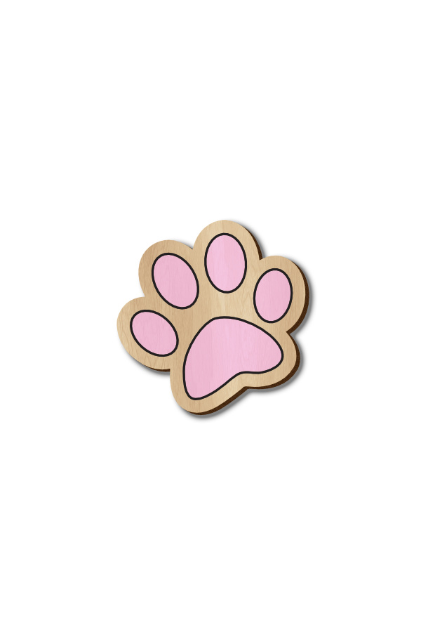 Pink Dog Paw - Hand-painted Wooden Pin