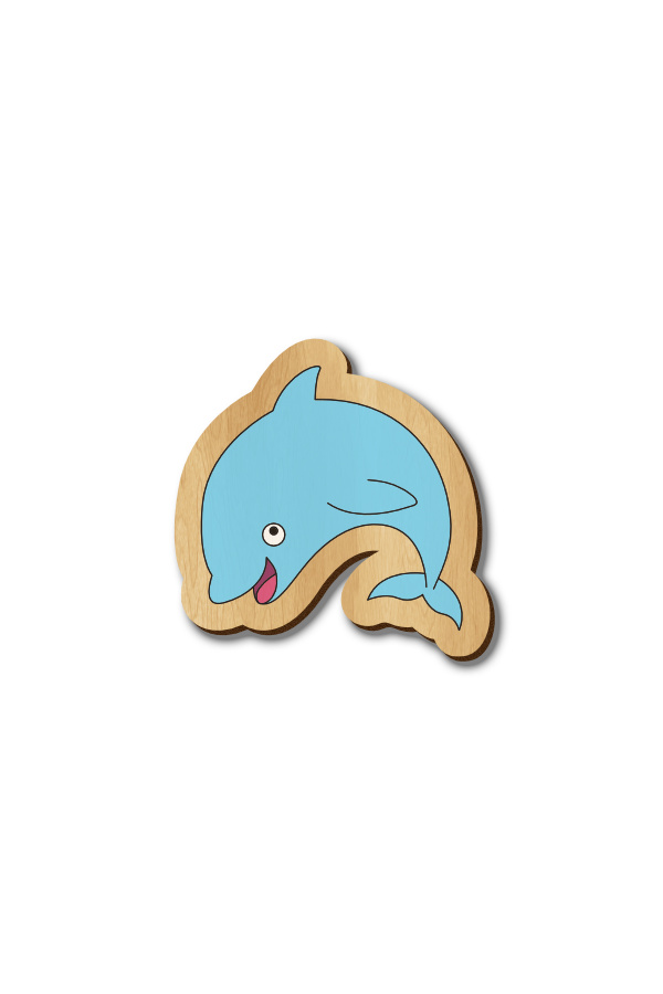 Dolphin - Hand-painted Wood