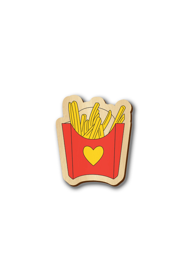 I Love Fries - Hand-painted Wooden Pin
