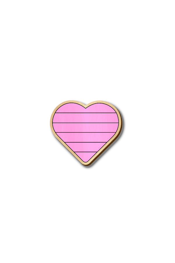 Pink Heart - Hand-painted Wooden Pin