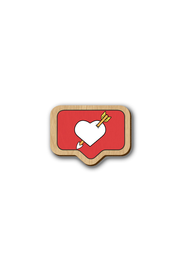 Insta Heart - Hand-painted Wooden Pin