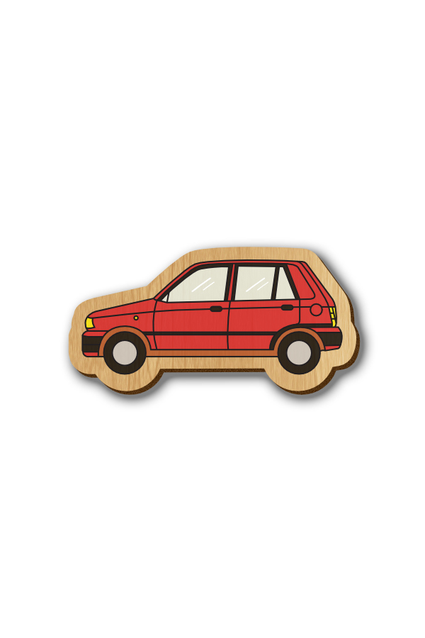 Red Maruti 800 Car - Hand-painted Wooden Pin