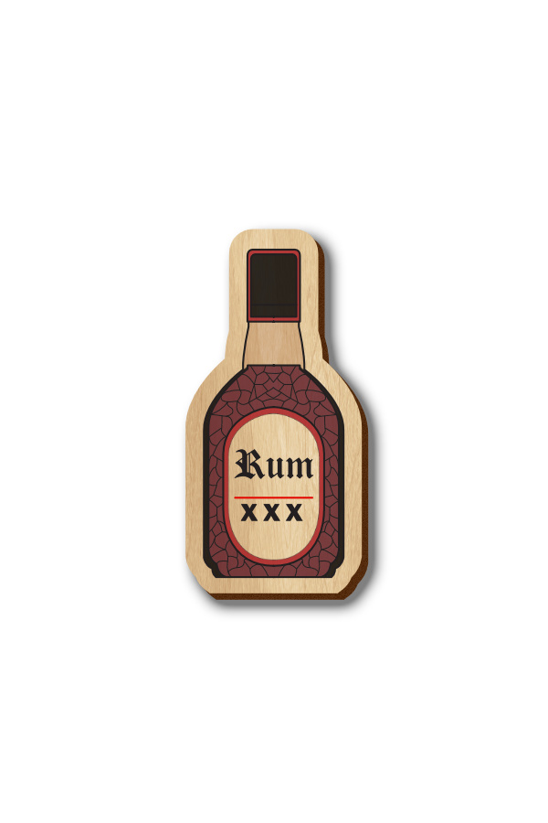 Old Monk Bottle - Hand-painted Wooden Pin