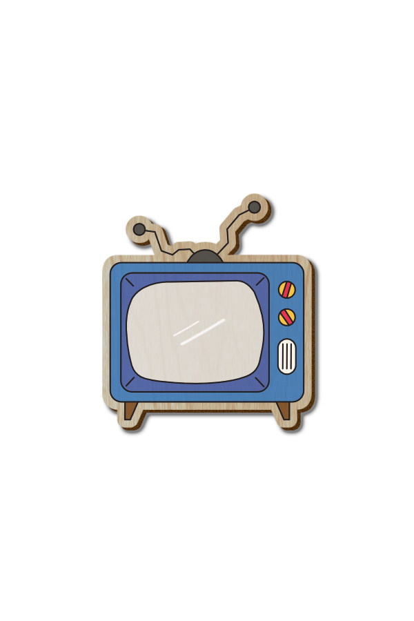 Old TV - Hand-painted Wooden Pin