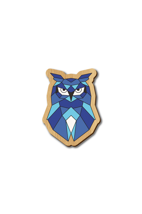 Blue Geometric Owl - Hand-painted Wooden Pin