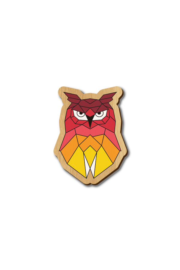 Red Geometric Owl - Hand-painted Wooden Pin