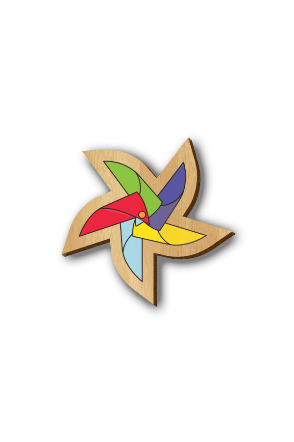 Multicolor Pinwheel - Hand-painted Wooden Pin