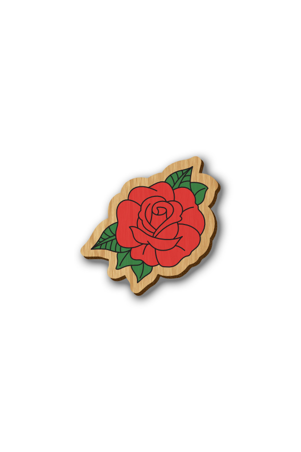 Red Rose - Hand-painted Wooden Pin