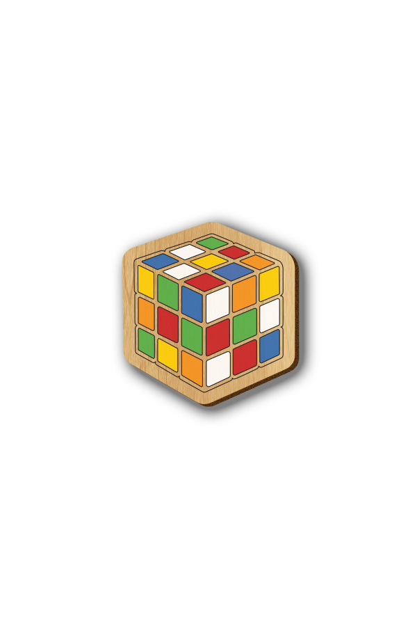 Rubik Cube - Hand-painted Wooden Pin
