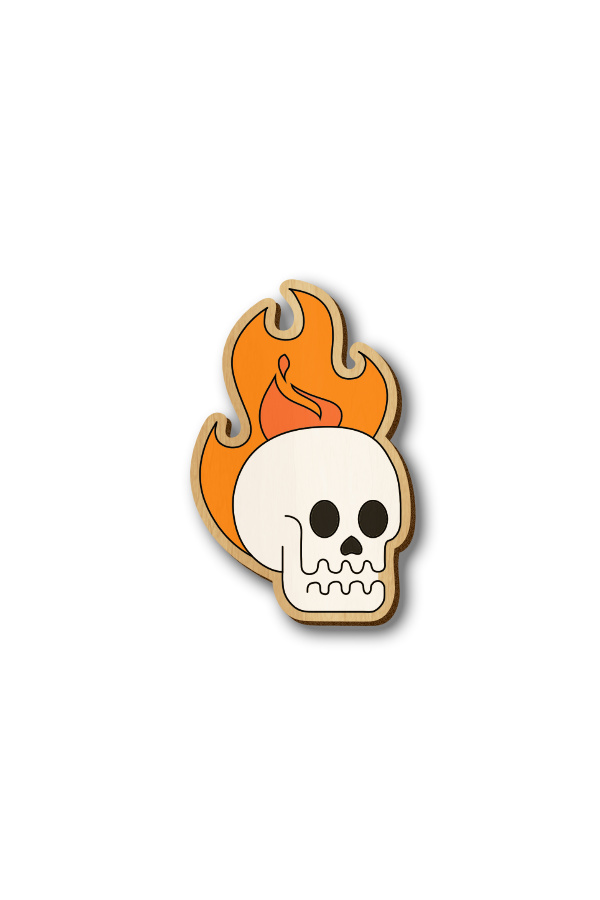 Skull on Fire- Hand-painted Wooden Pin