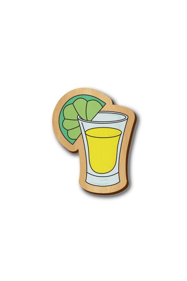 Tequila Shot Glass - Hand-painted Wooden Pin