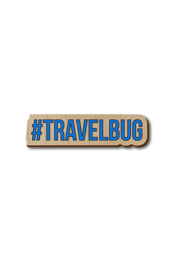 Travel bug Hashtag - Hand-painted Wooden Pin