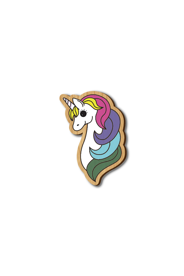 Unicorn Horse - Hand-painted Wooden Pin