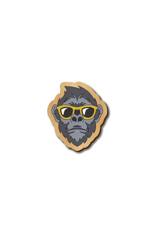 Monkey with Yellow glasses - Hand-painted Wooden Pin
