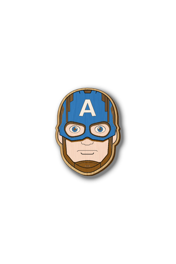 Captain America - Hand-painted Wooden Pin