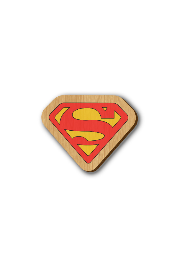 Superman Logo - Hand-painted Wooden Pin