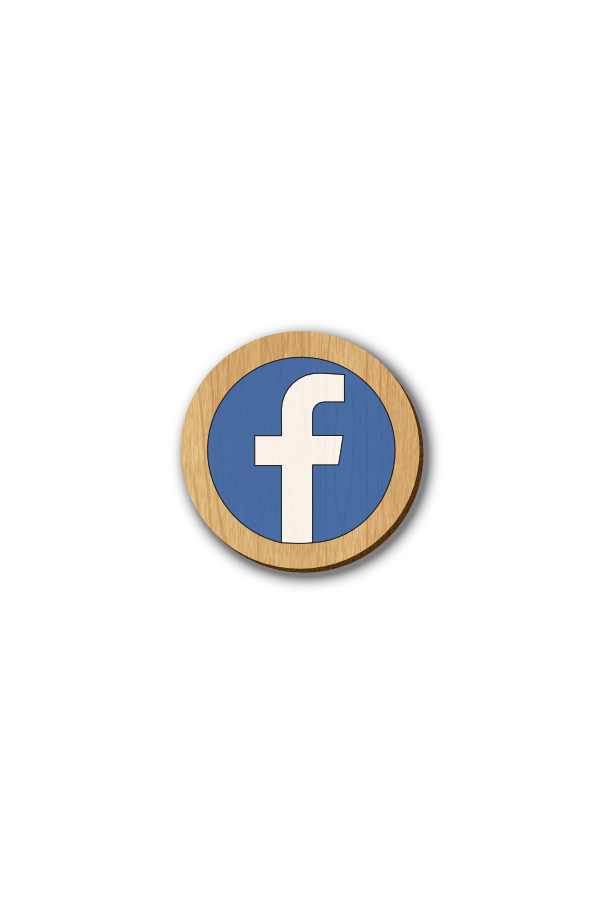 Facebook Icon - Hand-painted Wooden Pin