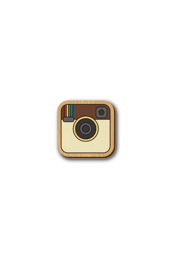 Instagram Icon - Hand-painted Wooden Pin