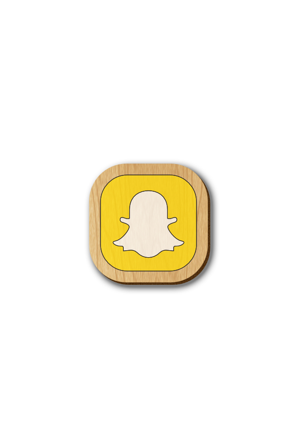 Snapchat Icon - Hand-painted Wooden Pin