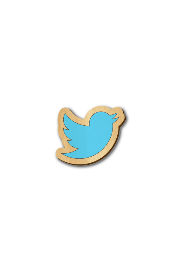 Twitter Icon - Hand-painted Wooden Pin
