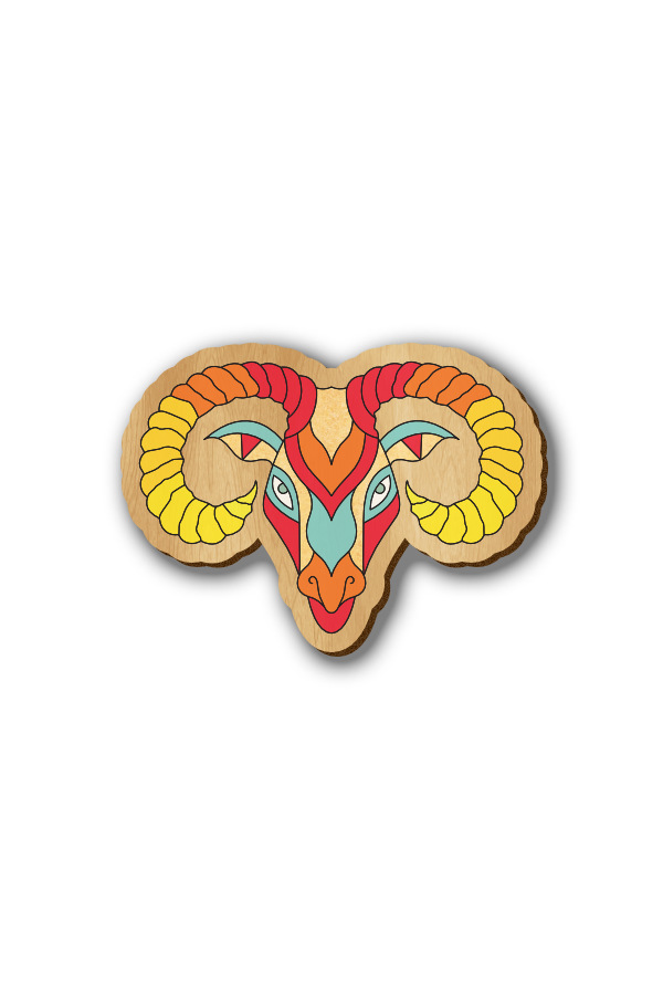 Aries Zodiac Sign - Hand-painted Wooden Lapel Pin