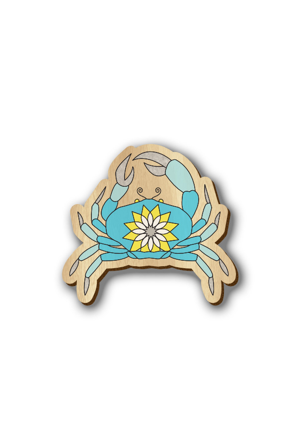 Cancer Zodiac Sign - Hand-painted Wooden Lapel Pin