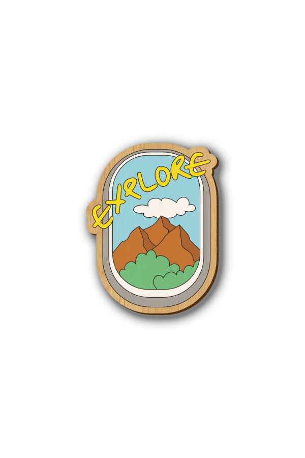 Explore Text - Hand-painted Wooden Lapel Pin