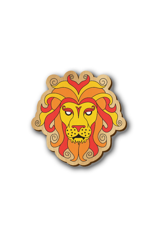 Leo Zodiac Sign - Hand-painted Wooden Lapel Pin