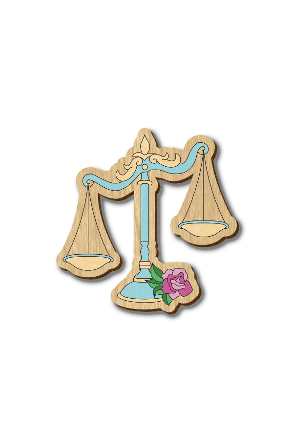 Libra Zodiac Sign - Hand-painted Wooden Lapel Pin