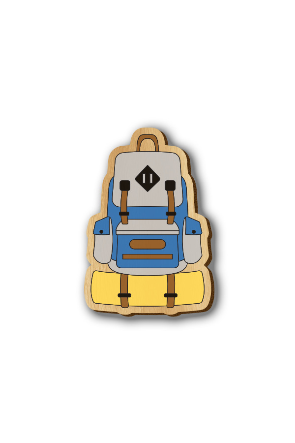 Travel Backpack - Hand-painted Wooden Lapel Pin