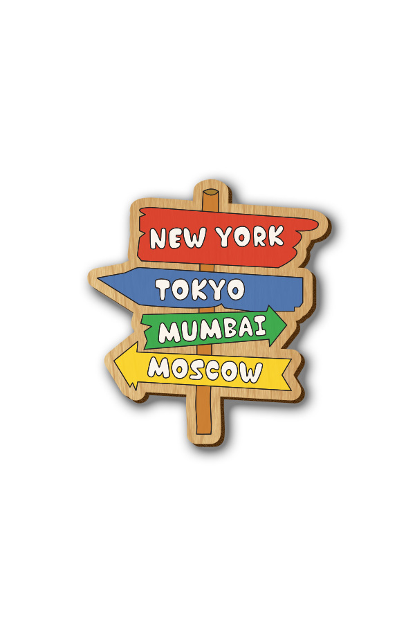 Travel the World - Hand-painted Wooden Lapel Pin
