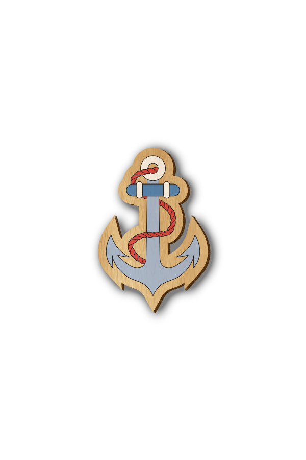 Anchor - Hand-painted Wooden Lapel Pin