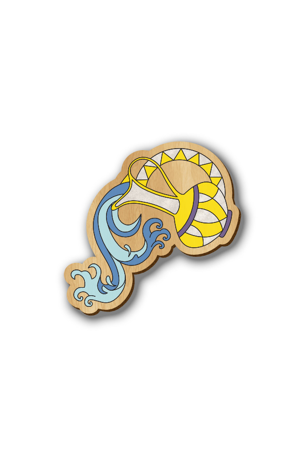 Aquarius Zodiac Sign - Hand-painted Wooden Label Pin