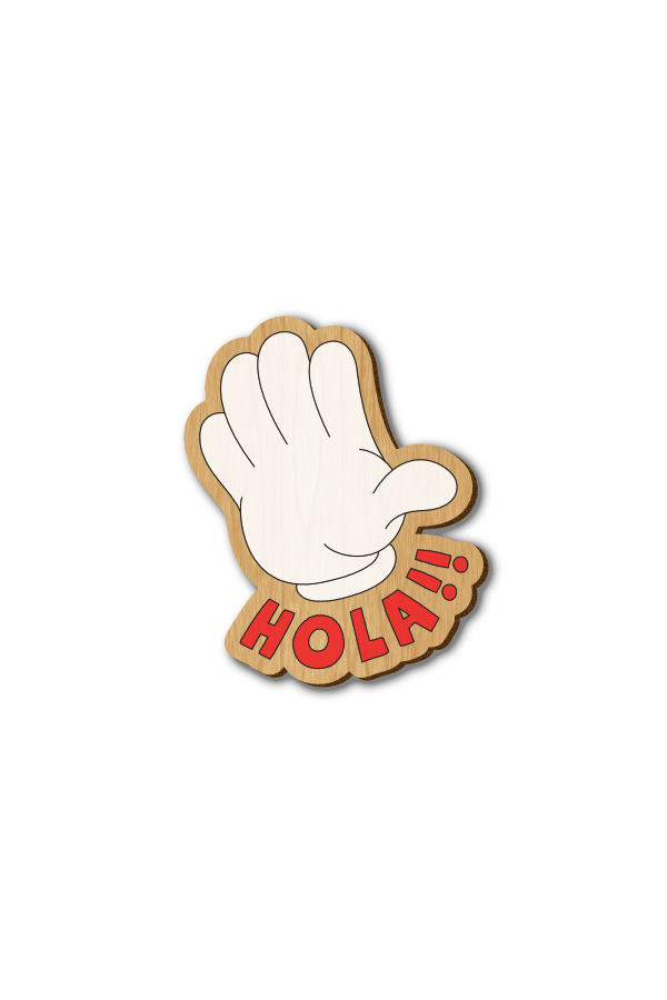 Hola Text - Hand-painted Wooden Lapel Pin
