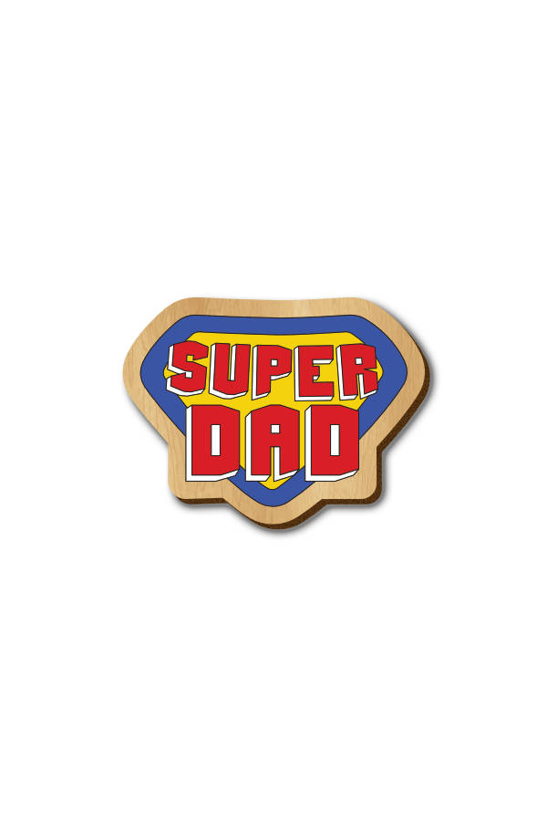 Super Dad Text - Hand-painted Wooden Pin