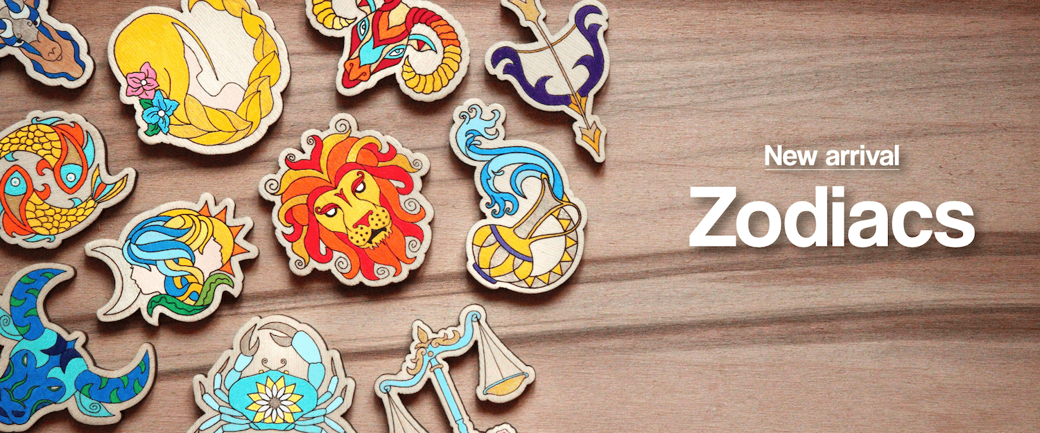 Zodiac Sign - Hand-painted Wooden Lapel Pin