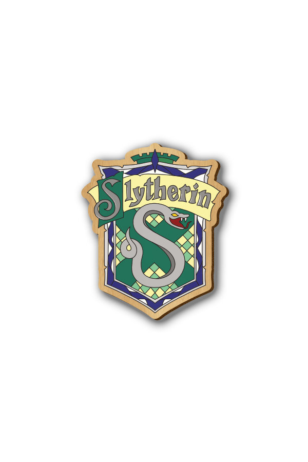 Harry Potter Slytherin - Hand-painted Wooden Lapel Pin & Fridge Magnet
