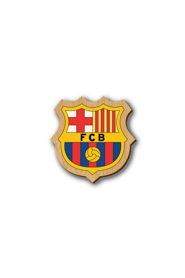 FC Barcelona Logo - Hand-painted Wooden Lapel Pin