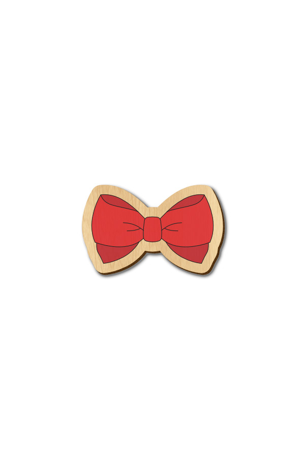 Bow Tie - 1 - Hand Painted Wooden Lapel Pin & Magnet