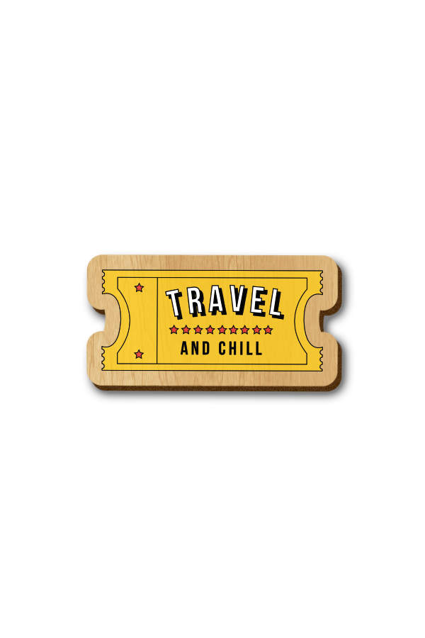 Travel and Chill - Hand Painted Wooden Lapel Pin