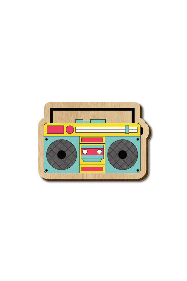Boombox Speaker - Hand Painted Wooden Lapel Pin