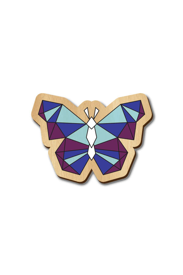 Butterfly 2 - Hand Painted Wooden Lapel Pin